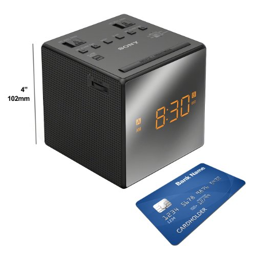 Sony Dual Alarm Clock with Extendable Snooze, AM/FM Radio, Built-in Calendar, Large LED Display, & Battery Backup (Black) + Sony Replacement Batteries + HeroFiber® Ultra Gentle Cleaning Cloth