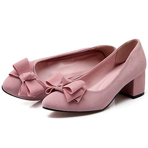 TAOFFEN Women's Block Heels Pumps Shoes Pink xXvwyi