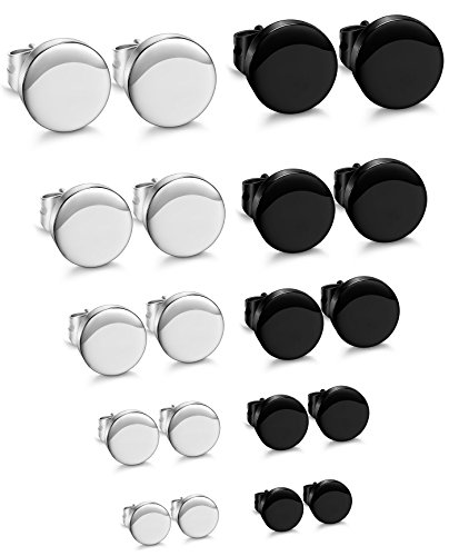 - ORAZIO 10 Pairs Stainless Steel Mens Womens Stud Earrings Pierced Tunnel 2 Mixed Colors, 3-7MM