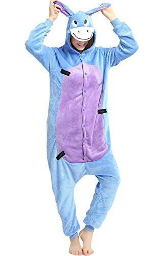 Indiefit Adults Onesie Pyjamas Flannel Animal Cosplay Costume Hoodie Sleepwear Nightgown Eeyore-S