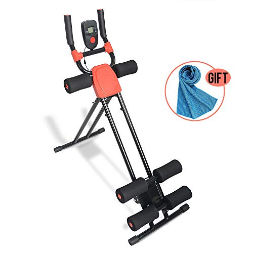 Apelila Ab Cruncher Abdominal Trainer Glider Machine, Body Fitness Gym Exercise Equipment with LED Monitor Towel