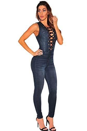 [Women Sexy Lace Up Denim Jeans Jumpsuit Rompers Overalls Bodycon Bodysuit (X-Large, Dark Blue)] (Sexy Jumpsuits For Women)
