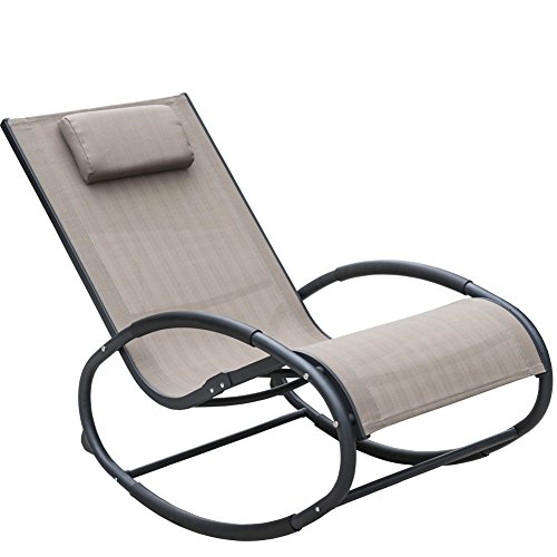 Sundale Outdoor Patio Aluminum Zero Gravity Chair Orbital Rocking Lounge Chair with Pillow Wave Rocker, Capacity 250 Pounds, Tan Review
