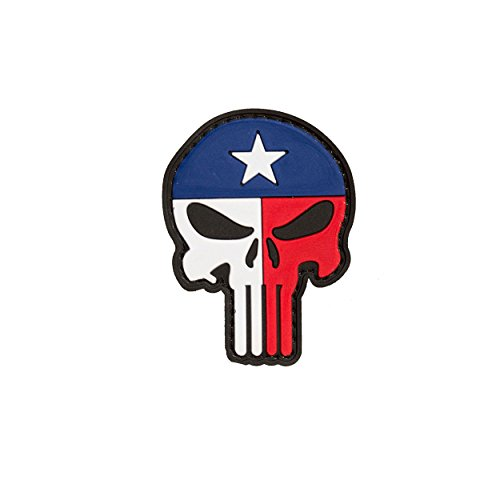 Ultimate Arms Gear Punisher Skull Texas Flag Face PVC Rubber Patch For Hats Bags Vests