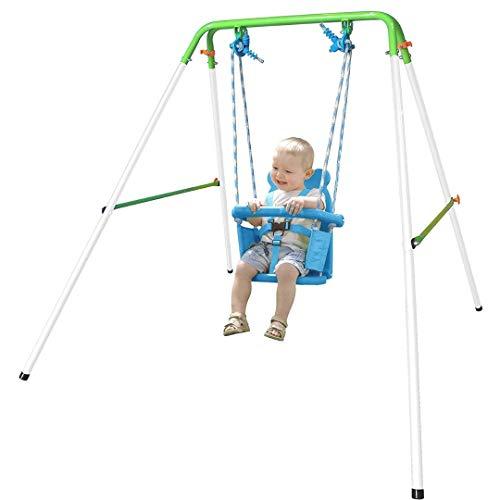 DOOR TROOPERS Outdoor Folding Toddler Garden Swing Frame with Safery Seat for Kids, Nursery Swing Blue, Best Gift