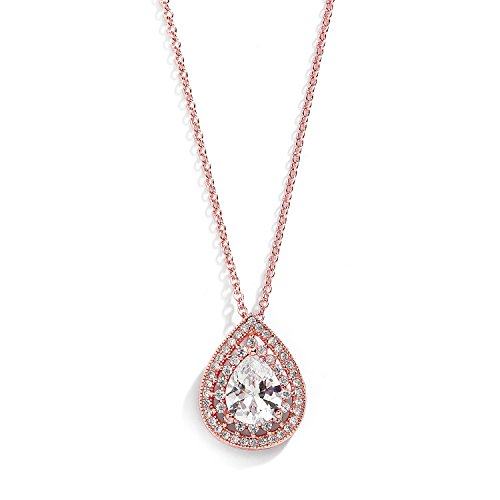 Mariell Rose Gold CZ Pave Framed Pear-Shaped Solitaire Necklace Pendant - Vintage Wedding Bridal Jewelry ()