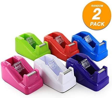 Mini 1 Core Desktop Tape Dispenser with Tape Refills Non-Slip Home One Hand Tape Holder Blade Non-Skid Base Transparent Tape Dispenser School Supplies Emraw Pack of 2 by