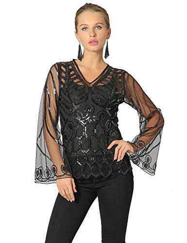 Beaded Long Sleeve Top - Metme Women's Sequin Blouse See Through Party Tops Beaded Sparkly Shirts Black, Large, US 12-14