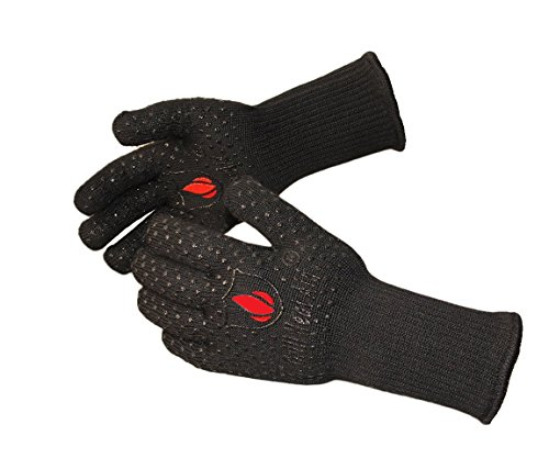 Extreme Heat Resistant Grill Gloves: Premium Insulated & Silicon Lined Fiber Mitts for Cooking, BBQ, Grilling, Frying & Baking for Indoor Outdoor, Kitchen & (Fire Grill)