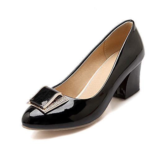 Shoes Kitten on Pull PU WeenFashion Pointed Heels Solid Closed Black Pumps Toe Women's aqxAPTw