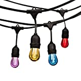 Outdoor String Lights LED 24 Feet Advanced Weatherproof Design Connectable String of Light,8 Acrylic Color Heavy Duty Hanging Socket -E26 for Porch Patio Garden Backyard