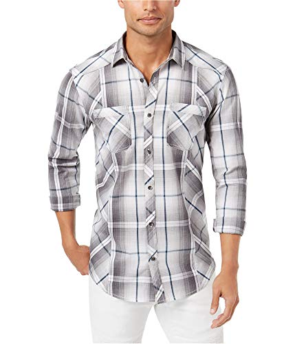 INC International Concepts I.N.C. Men's Plaid Shirt (White Pure, M) from INC International Concepts