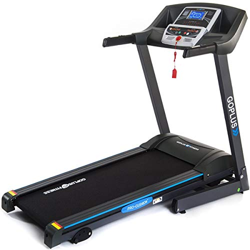 GOPLUS 2.25HP Electric Folding Treadmill with Incline, Walking Running Jogging Fitness Machine with Blue Backlit LCD Display for Home & Gym Cardio Fitness - Incline Treadmill Calories