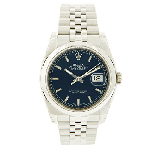 Oyster Perpetual DateJust Stainless Steel Smooth Bezel Blue Stick Luminous Dial Watch - 31 mm