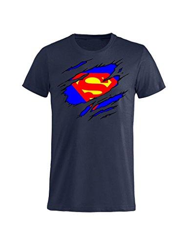 shirt cartoni Navy idea 4 Tuttoinunclick Kent regalo T Blu Navy Blu 3 animati donna Anni bambino Clark GR100 Superman Uomo 5PPzqAwxH