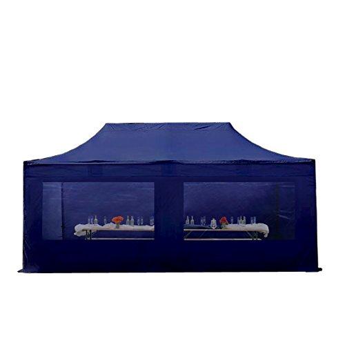Faltpavillon Faltzelt Pavillon Klappzelt 4x8 m - ca. 500g/m² Plane + ca. 50mm Aluminiumgestänge - Zelt Partyzelt Gartenzelt Sonnenschutz Markstand Popup, mit 4 Seitenteilen (Panorama), dunkelblau