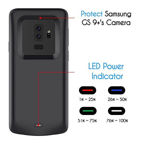 GALAXY S9 Plus BATTERY circumstance Black 5200mAh Rechargeable External Battery transportable Charger Protective Charging circumstance veggie juice Pack ability Bank Cover for Samsung Galaxy S9 62 Tessera Battery Charger Cases
