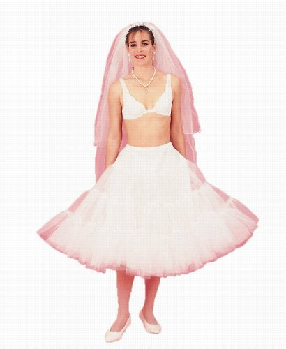 New White Poodle Crinoline Skirt Bridal Petticoat Wedding Gown Slip (108DSPW)