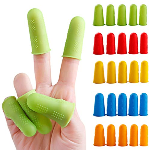 Finger Protectors 3/5pcs Elasticity Solid Anti-hot Durable Kitchen Accessories Silicone Plate Anti-slip Multicolor Caps Home Use High Temperature Resistant by Lovt (Image #5)
