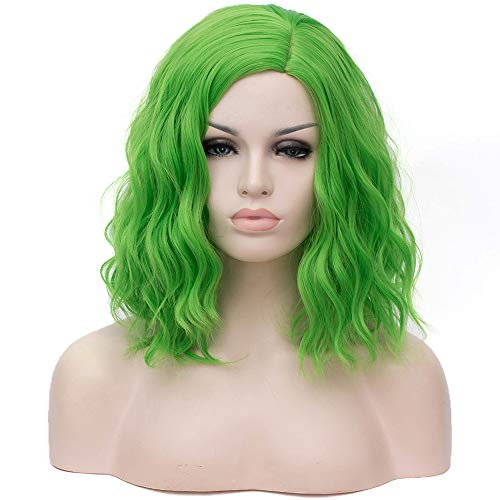 Mildiso Short Green Wigs for Women Green Curly Wavy Cosplay Costume Wigs with Wig Cap M078 ()
