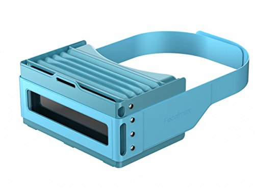 Focalmax Accordion Virtual Reality Headsets Box VR, Foldable and Portable Light Design for 3D Movies and Games, Compatible with Android Apple Smartphones, Blue Color