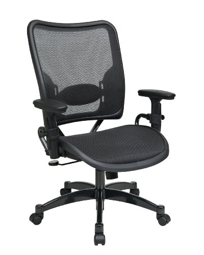 Metal Finish Gunmetal Base (SPACE Seating Deluxe AirGrid Dark Back and Seat, 2-to-1 Synchro Tilt Control, Adjustable Arms, Tilt Tension and Lumbar Support with Gunmetal Finish Base Managers Chair)