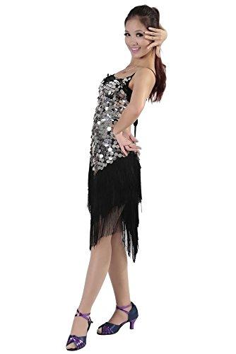 Club Borla Plata KINDOYO de Noche Respaldo Competencia de Sin Negro Mangas Gama de Traje de Traje Latino Disfraz Baile Sin Mujeres Traje alta Disfraz Baile x40q7Srw4