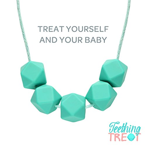 Baby Teething Necklace for Mom- 100% Safe Fashion Beads + Gift Box (Blue Turquoise)
