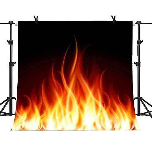 MME 5x5Ft Fire Bonfire Backdrop Pure Sample Black Fireplace Winter Background Family Vinyl Studio Props Photo GEME093
