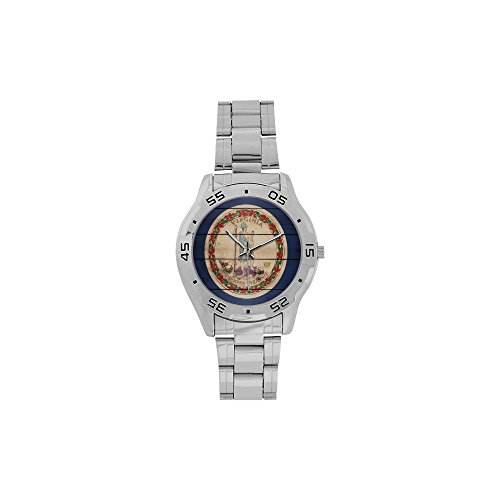Novelty Gift Virginia Flag American US State Men's Stainless Steel Analog Watch -