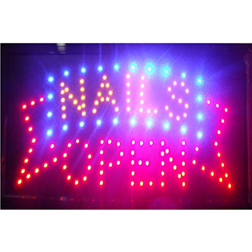 CHENXI Led Beauty Hair Salon Nails Shop Open Sign 48 X 25 cm Indoor Ultra Bright Running Care of led (48 X 25 cm, F)