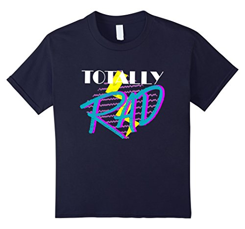 Kids Totally Rad 1980s vintage style costume party t-shirt 6 Navy
