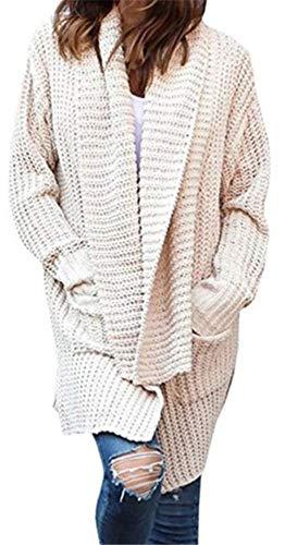 3d5a141d460 Longues Veste Poches Pull Long Cardigan Avec Yogly Torsadé Unie Beige Femme  Manches Gilet En Couleur Chandail 0OxIRxqC