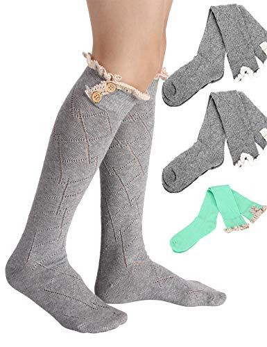 Avidlove Women Socks Lace Trim Leg Warmers Button Boot Cuffs Toppers Light Gray (FBA)