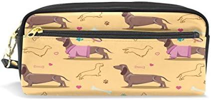 ALAZA de perro salchicha perro huellas estuche de cremallera piel sintética cosméticos maquillaje bolsa multifunción pluma gran capacidad bolsa de papelería: Amazon.es: Oficina y papelería