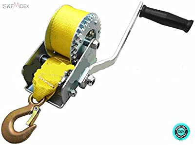 """SKEMiDEX--- 600lbs Hand Winch Hand Crank Strap Gear Winch ATV Boat Trailer Heavy Duty NEW Length: 20 ft (6m) Width: 2"""" (5cm) Max Capacity: 600 lbs Adapts for ratchet or free spool."""