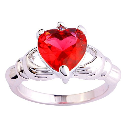Emsione Created Pink Tourmaline 925 Silver Plated Claddagh CZ Heart Promise Ring for Women