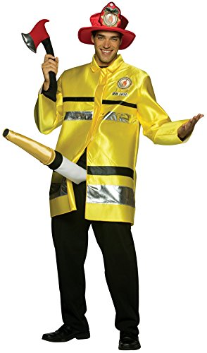 Cheap Halloween Fancy Dress Costumes (UHC Men's The Fire Extinguisher Outfit Funny Theme Fancy Dress Halloween Costume, OS)