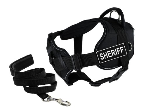 Dean & Tyler's DT Fun Chest Support ''SHERIFF'' Harness with Reflective Trim, Small, and 6 ft Padded Puppy Leash. by Dean & Tyler
