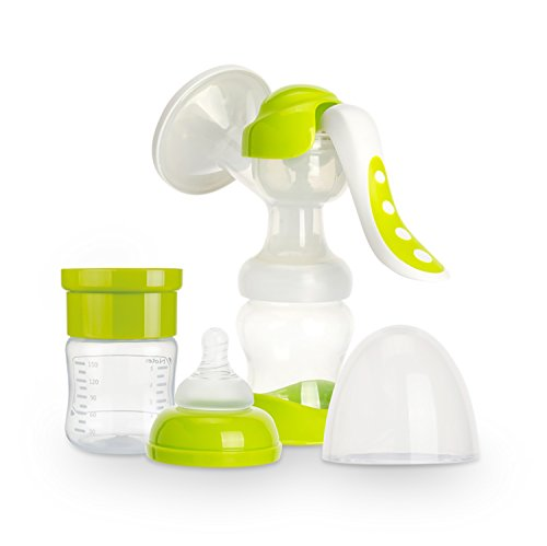 Manual Breast Milk Hand Pump Set - 2 in 1 Manual Breastmilk Pump with Bonus Baby Bottle - Travel Friendly Portable Breastfeeding Pumps- FDA Approved BPA Free Breast Feeding Essentials