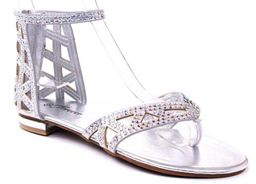 c51ff61d0 Sparkling Rhinestone Ankle Gladiator Sandals product image