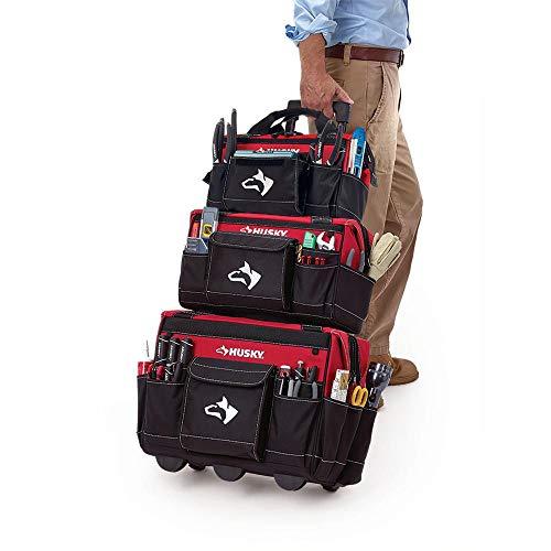Husky GP-57101N17 18 in. Rolling Tool Tote with 16 in. and 14 in. Bonus Bag