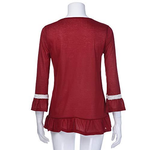 Tops Top Casual Felpa Liquidazione Vendita Autunno Sciolto ❀❀ Lace Casuale Camicie Shirt Ruffle Lunghe T Camicette Rosso di Maniche Elegante U18TFqFw