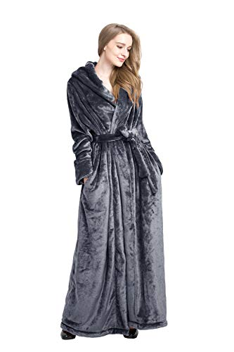 Find Dress Extra Long Plush Fleece Robe Thicken Soft Warm Bathrobe Grey-M