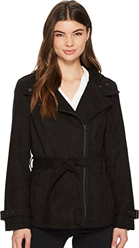 Kenneth Cole New York Women's Faux Suede Moto Trench Black Small ()