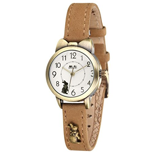 Fq-234 Soft Leather Strap Bowknot Cute Bunny Girl's Women's Students Quartz Wrist Watches Khaki Color ()