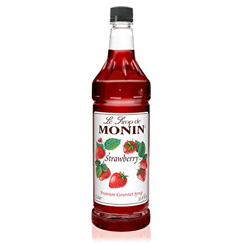 Monin - Strawberry Syrup, Mild and Sweet, Great for Cocktails and Teas, Gluten-Free, Vegan, Non-GMO (1 Liter) (Strawberry Syrup Drink)