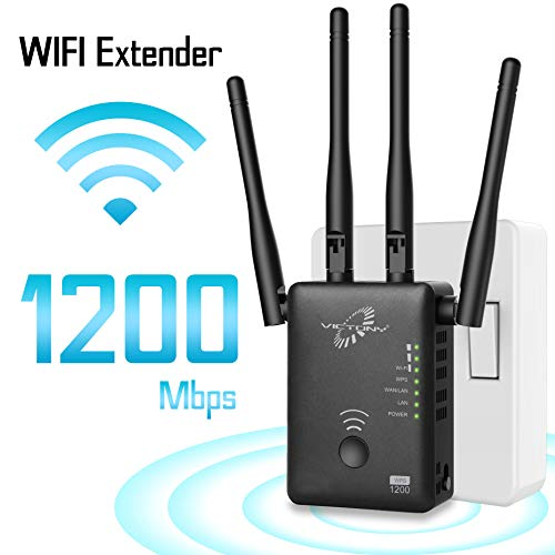 VICTONY 1200Mbps WiFi Repeater for 2.4G and 5G WiFi Signal Booster with 4 High Gain External Antennas 360 Degree WiFi Range Extender