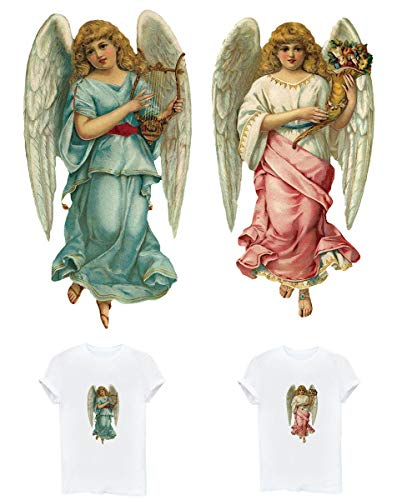 Patches for Girls Angel Iron On Appliques Heat Transfer Sticker with European Retro Angel Patterns Flowers Love Heart Wings Bird Waterproof&Washable for Free DIY T-shirt, Pillow, Jackets, Coats(2 PCS)