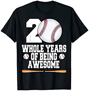 20th Birthday Gifts For Girls Boys 20 Years Old Baseball T-shirt | Size S - 5XL